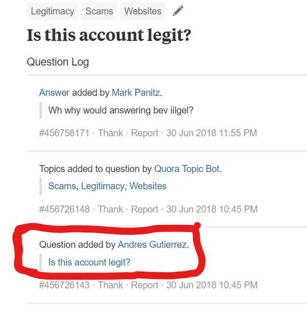 Is this account legit? - Quora