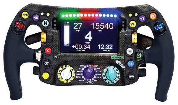 Why does the steering wheel in an F1 race car require