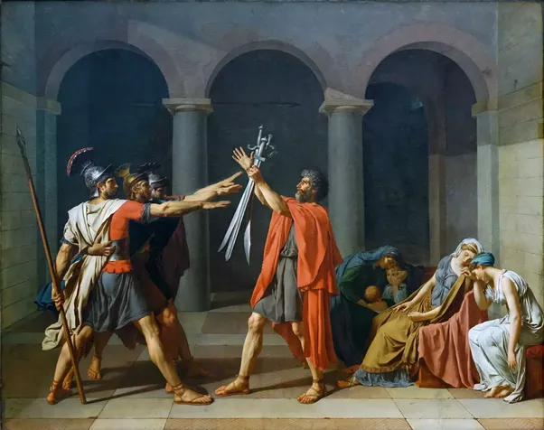 it depicts three men brothers saluting toward three swords held up by their father as the women behind him grieve no one had ever seen a painting like it
