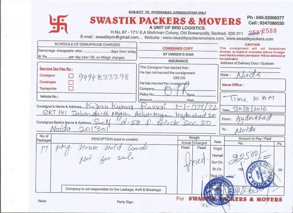 how to get packers and movers u2019 bill