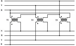 What is the working principle of a three-phase transformer