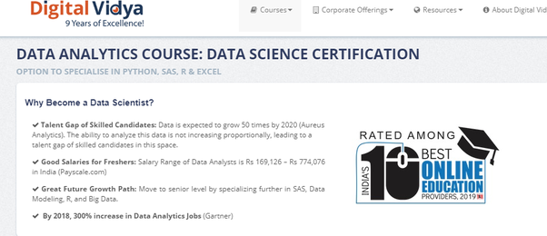 What certification does a freelance data science trainer
