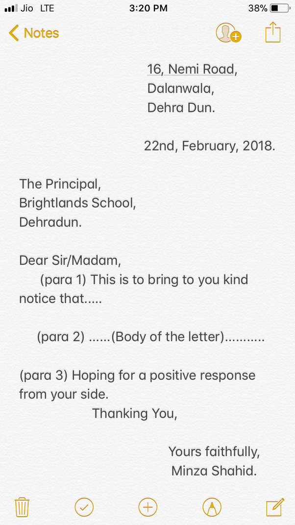 what is the correct format for letter writing in the icse quora