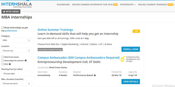 Which companies in India offer summer internships for MBA ...