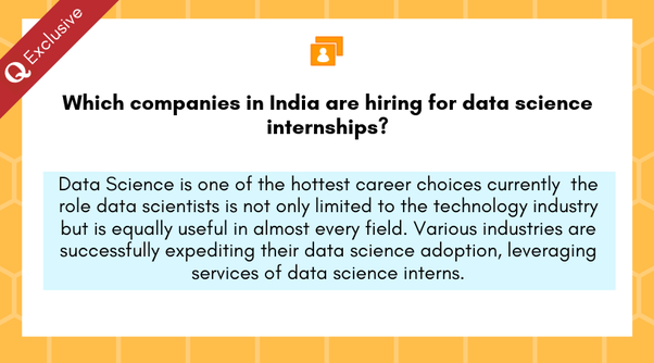 Which companies in India are hiring for data science internships