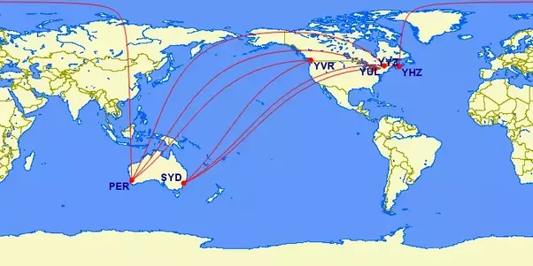 as you can see in almost every possible route the most direct path from canada to australia is usually to fly directly over the pacific ocean