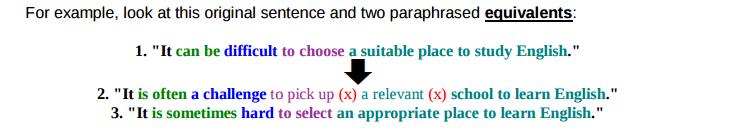 paraphrase example sentence