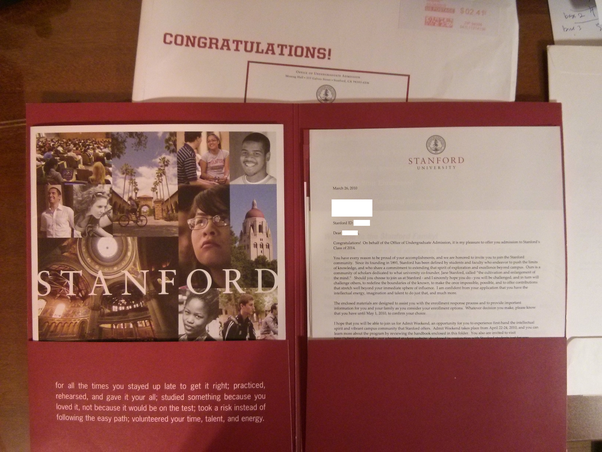 What does a Stanford letter of acceptance to undergraduate study