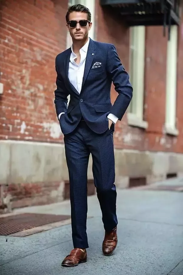 A Grey Coloured Suit Also Looks Stylish With Brown Shoes