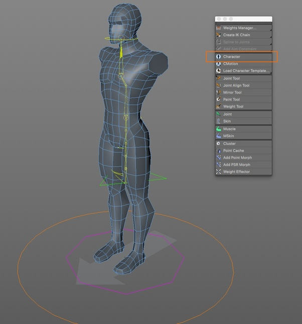 I want to rig a character in cinema 4D or Maya, but the character