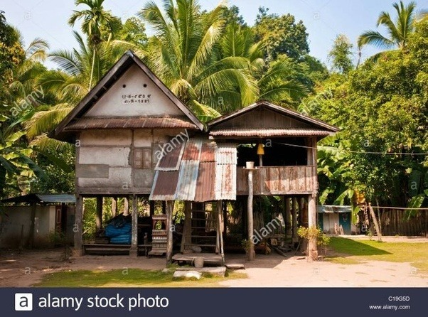 so people have come to know about stilt houses as this houses are some feet above the ground therefore it is not get affected by the flood - Houses Pic