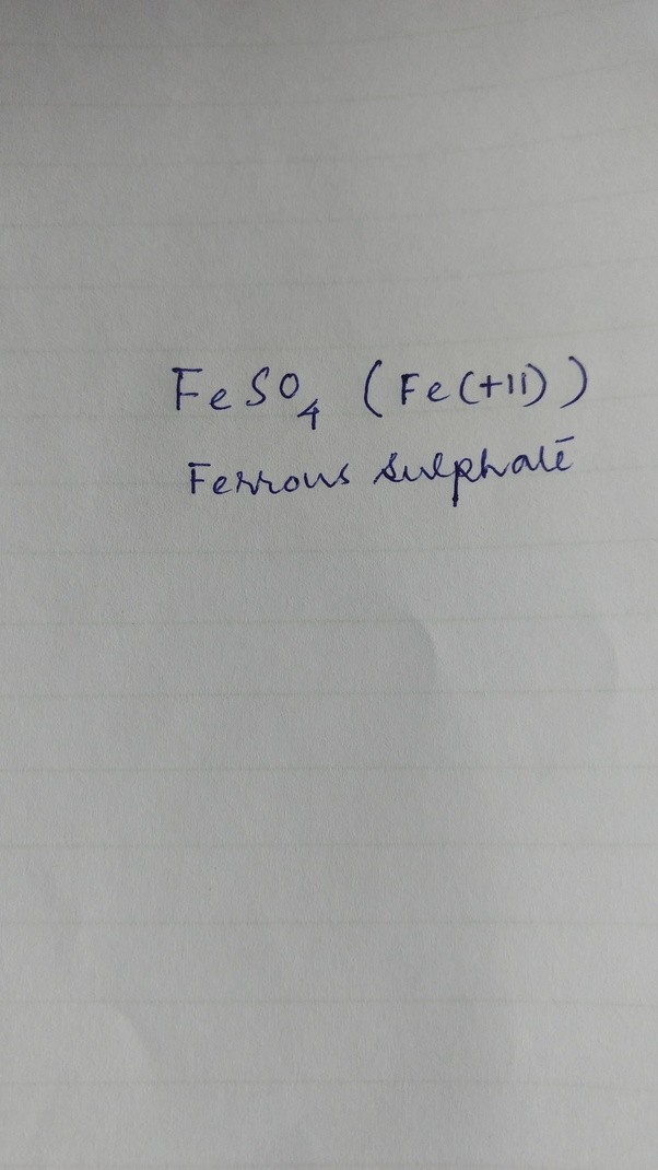 What Is The Chemical Formula For Iron Sulfate Quora