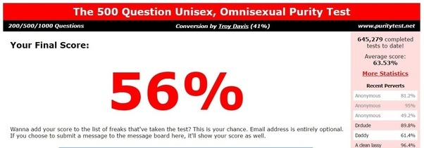 what is your score on the unisex omnisexual 500 purity test quora