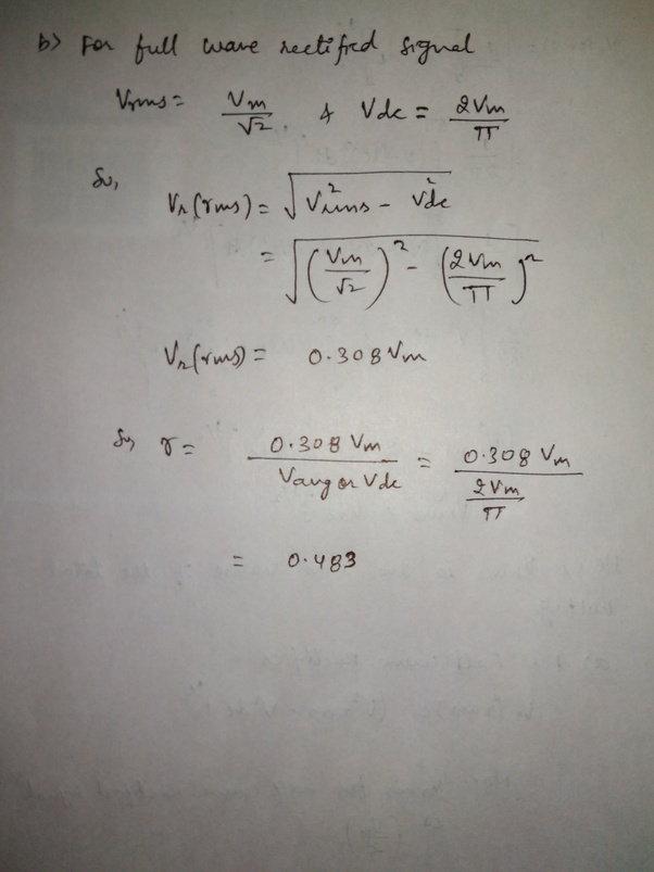 What are the ripple factors of half wave and full wave