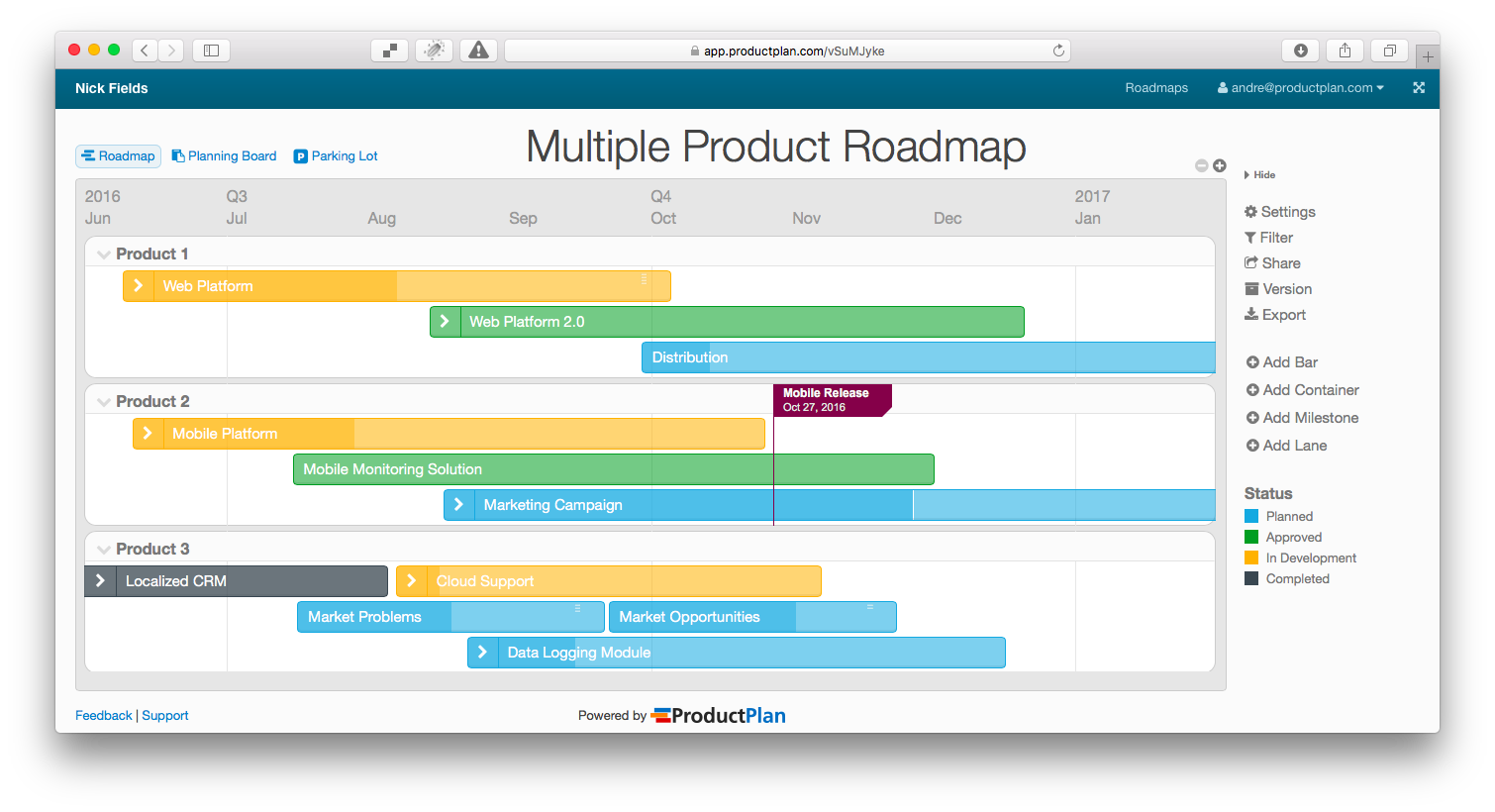 what is an example of a product roadmap quora