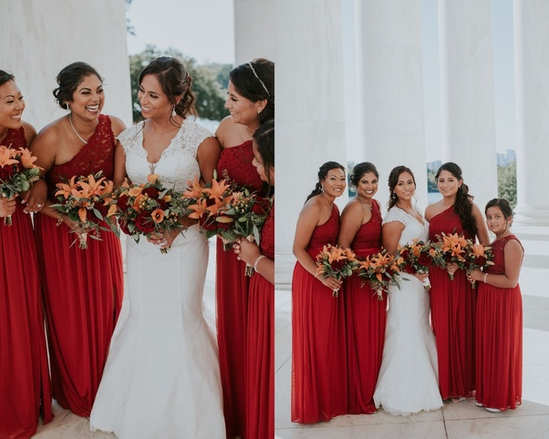 7368e5e819b8 Which color is more stylish at summer weddings  red bridesmaid ...