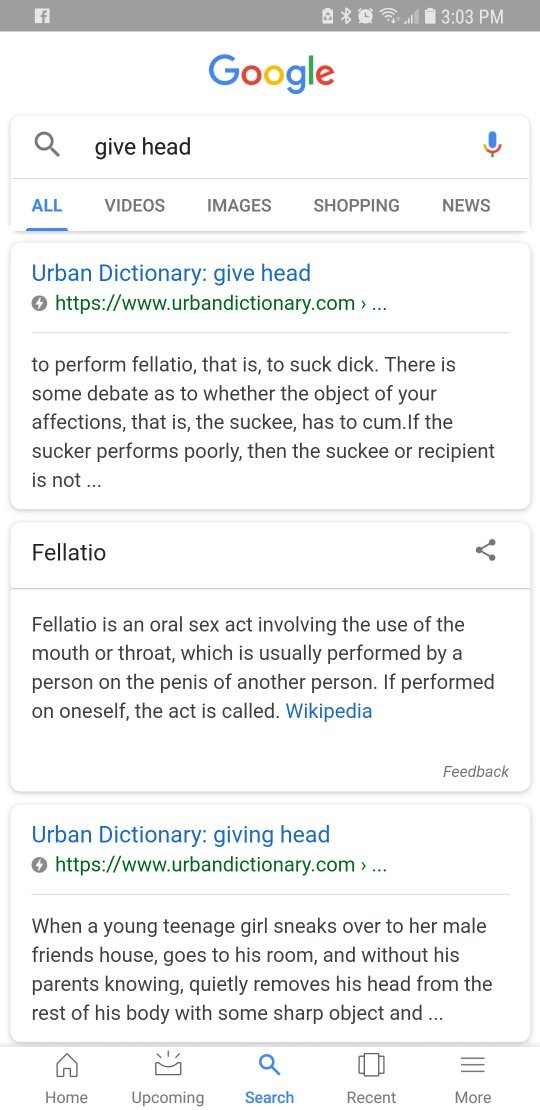 Slang for fellatio