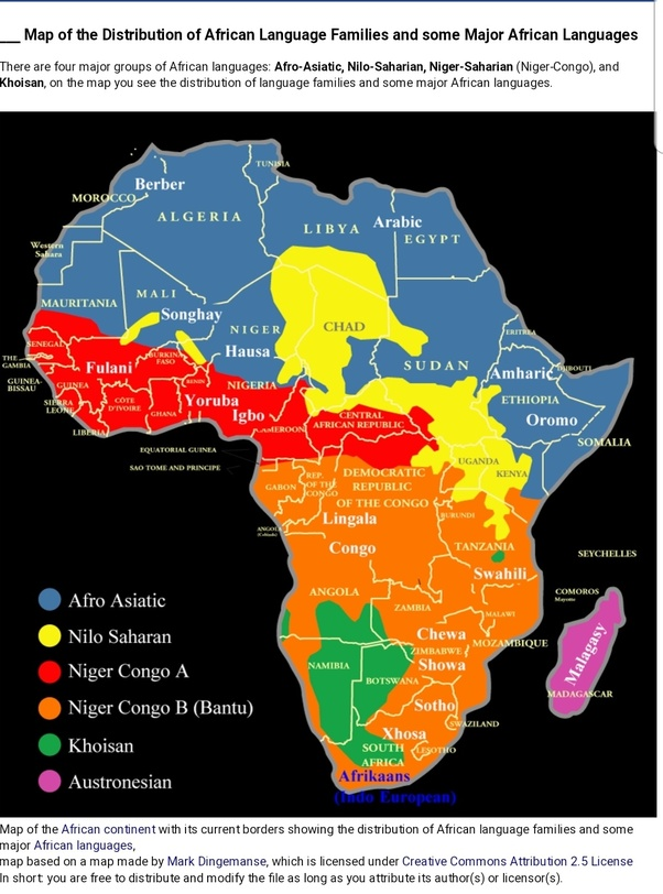 africa map by language In African How Do You Say I Love You Too Quora africa map by language