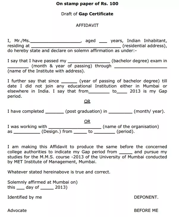 What is gap certificate quora gap year certificate or affidavit is required only when asked by the organization institute for their admission other selection process yelopaper Gallery