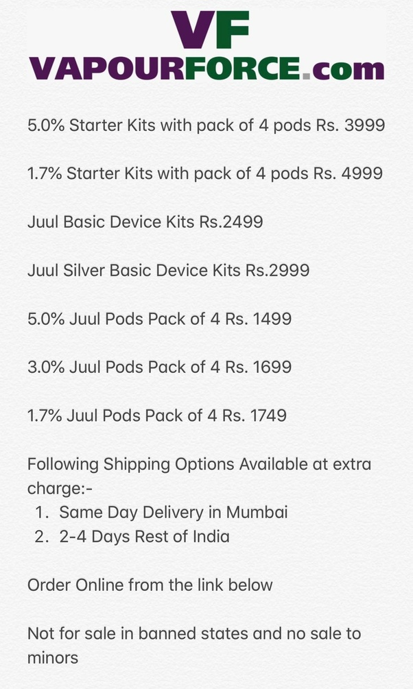 How much is the custom duty on Juul pods in India if I order