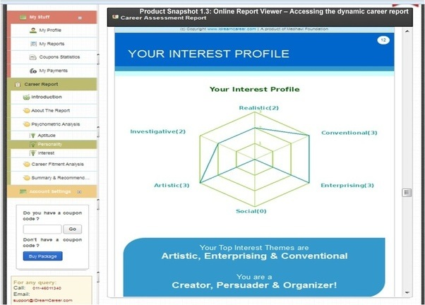 Few Snapshots Of The Online Personalised Career Dashboard At IDreamCareer: