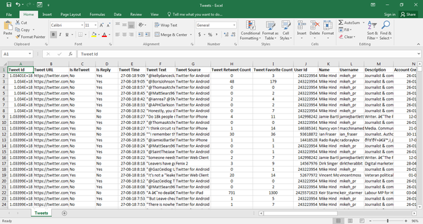How to export all (x user) Tweets to Excel or CSV - Quora
