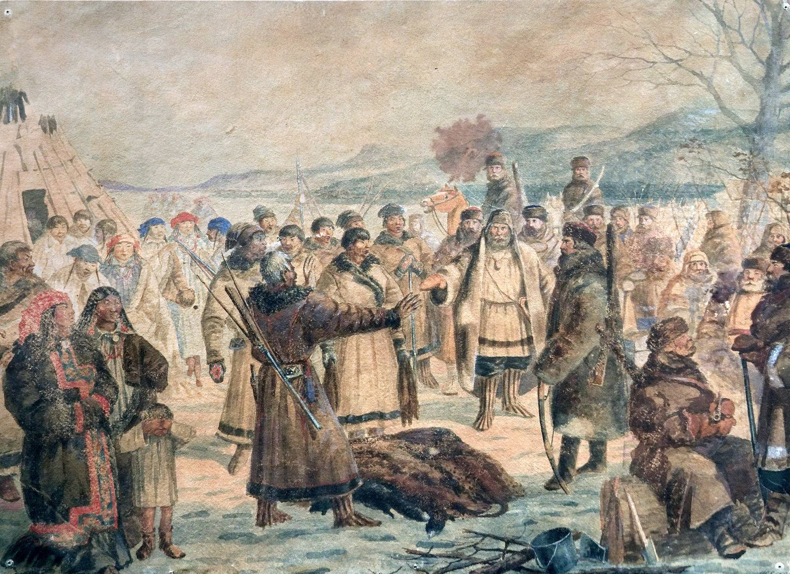 Cossacks collect fur taxes from Siberian tribe.