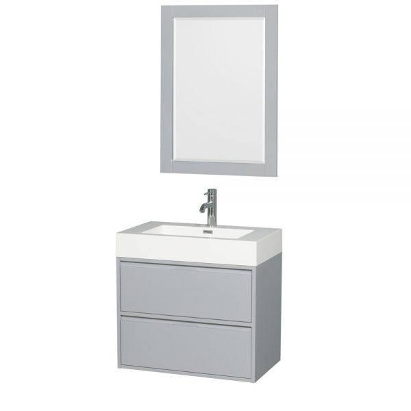 "Daniella 30"" Wall-Mounted Bathroom Vanity Set With Acrylic Resin Countertop, Integrated Sink and 24"" Mirror - Dove Gray - Modern Bathroom Furniture ..."