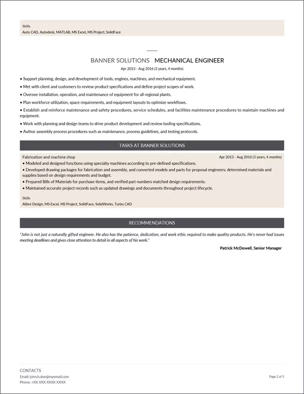 here is a mechanical engineer resume example made with resumizeme - Mechanical Engineering Resume Examples