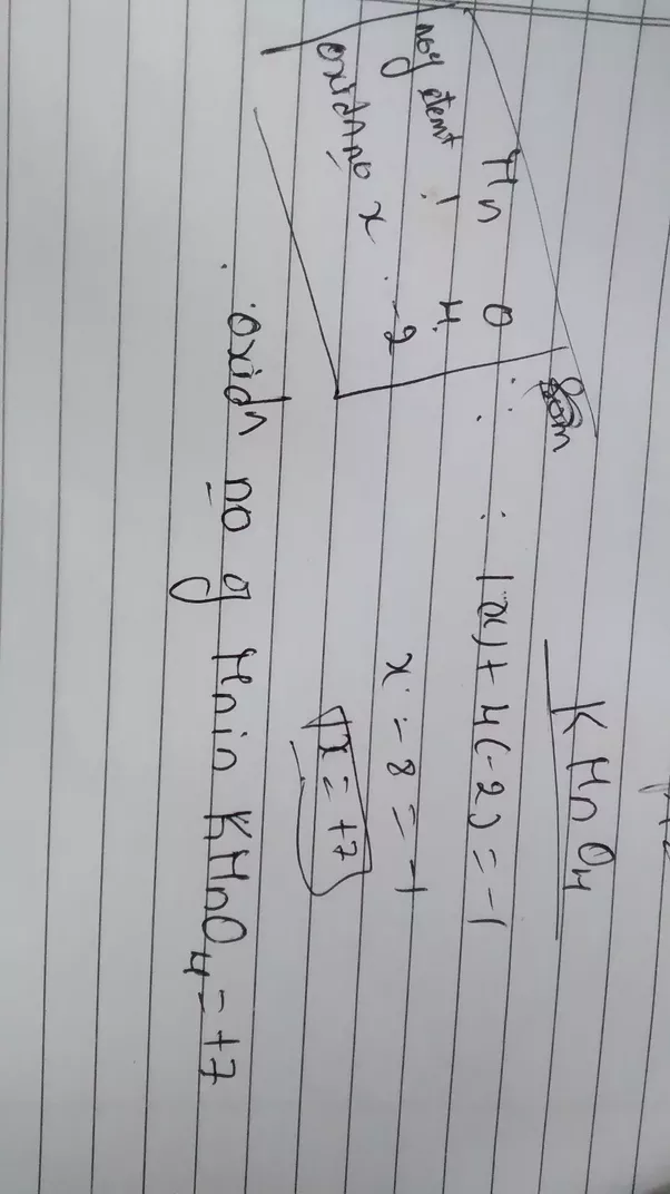 What Is The Oxidation State Of Mn In Kmno4