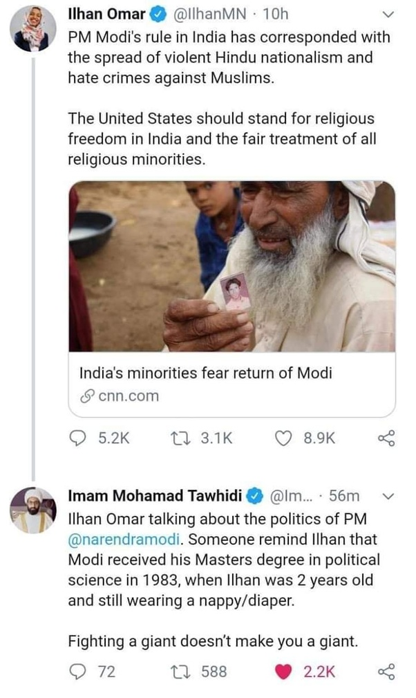 What do you think of Ilhan Omar tweeting against Modi