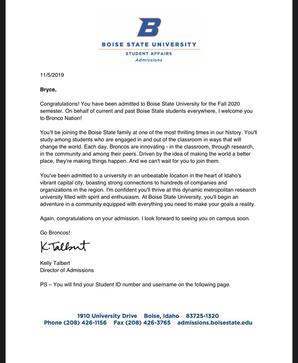 College admissions letter