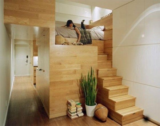This Is A Very Cleverly Built Small Space. Since Thereu0027s No Natural Light,  The Space Beneath The Bed Is Probably Used For Storage.