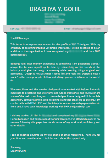 Here Is A Snapshot Of My Cover Letter For Reference While I Was Applying  For UI/UX Design Jobs,