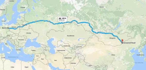 you would drive through germany poland belarus russia mongolia and eventually china if youre more interested in the western part of