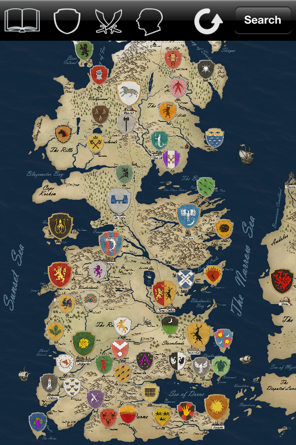 What is the map of the game of thrones world quora a map of westeros with the seats of the most important houses gumiabroncs Image collections
