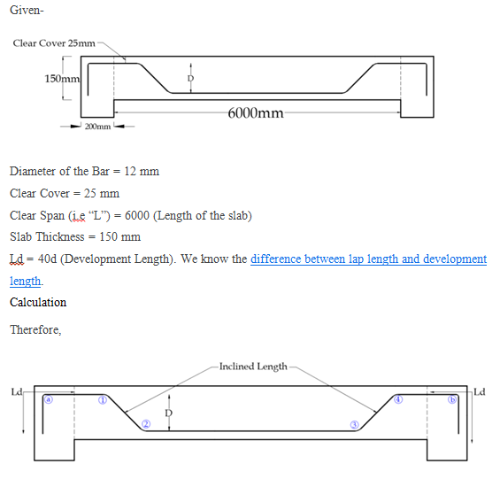 What is the formula to find crank length in steel bars for RCC slab