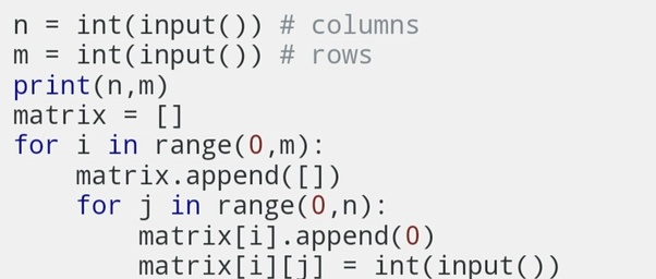 How to take input from a user in a nested array in Python - Quora