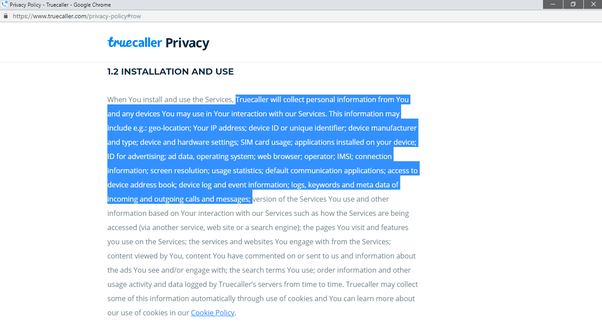 Screenshot from Truecaller Privacy Policy