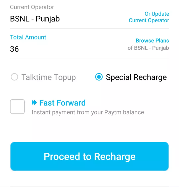 How to make validity extension for a BSNL card using Paytm
