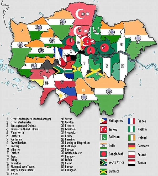 Where do indians live in london which are the best apartments or daily mail wrote an article showing which ethnicity dominates what areas in london and here is what the map looks like gumiabroncs Choice Image