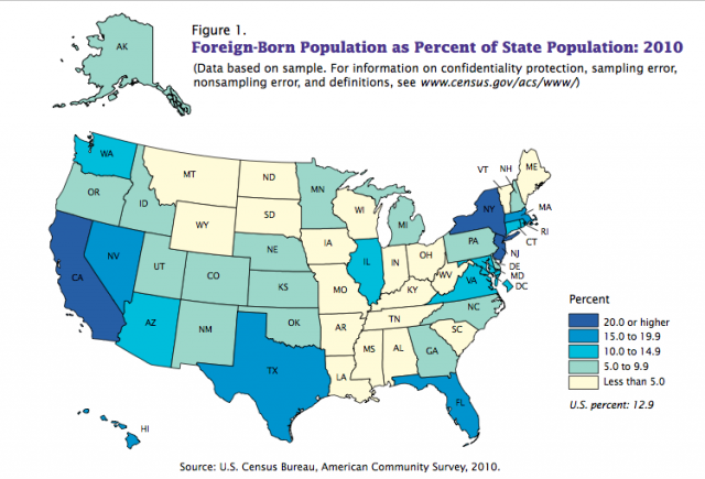 In Which Us State Do Immigrants Have Higher Chances To Get A Legal - Map-of-immigrants-in-the-us