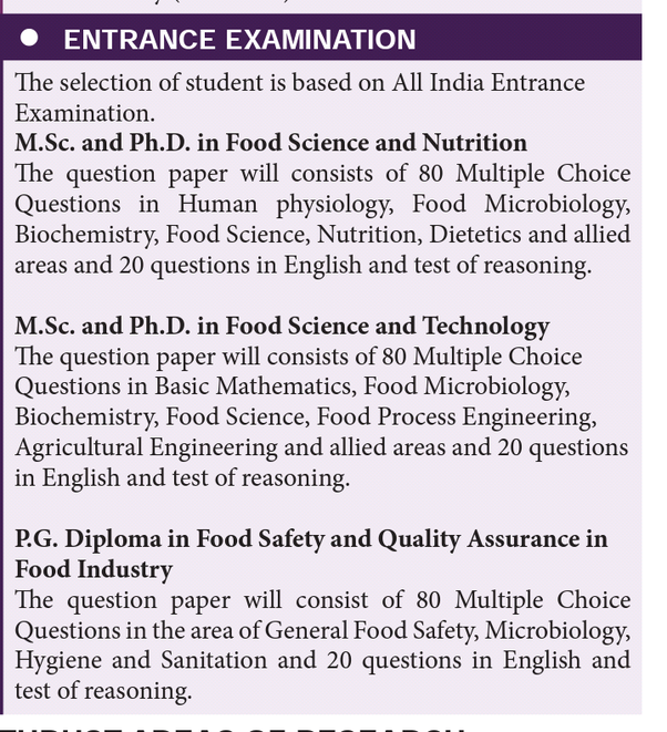 What is the entrance exam syllabus for an MSc in food