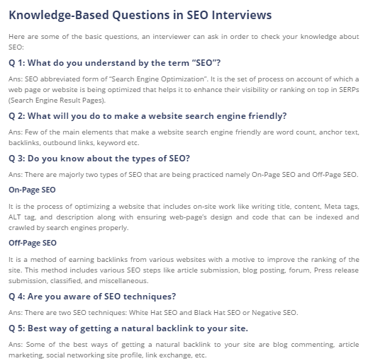 We Have Come Up With A List Of Top SEO Interview Questions That You Should  Read Before Going For An SEO Interview!