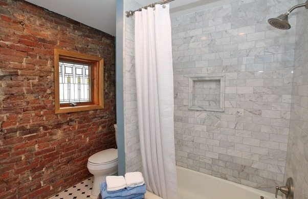 Beau Different Types Of Bathroom Tiles Can Go Elegantly With Exposed Brick Wall  Designs. To Help You Get A Closer Look, Here Are Some Of The Images That  Will ...
