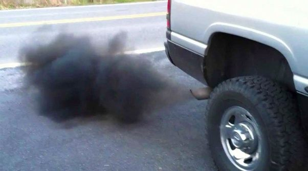 Black smoke is something called a particulate matter or Soot . Black smoke is formed when there is not enough Air to burn the fuel this is called a rich ... & Why is the exhaust from my diesel engine black smoke? - Quora