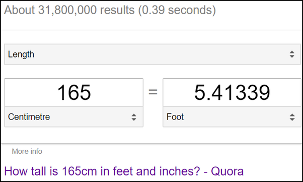 How Many Feet And Inches Is 165 Cm Quora