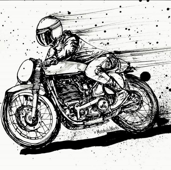 картинки карандашом мотоциклистов на мотоцикле поклонников