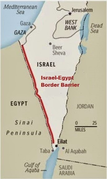 What continent is the mutual border between Egypt and Israel