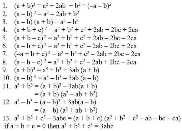 That Being Said Its Useful To Memorise Basic Algebraic Identities This Is A List Of A Few Easy Ones